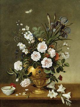 Stillleben mit Blumen im Goldgefäß, Pedro de Campróbin