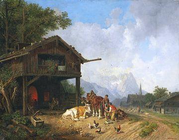 Bij de hoefsmid in de bergen, HEINRICH BÜRKEL, ca. 1850