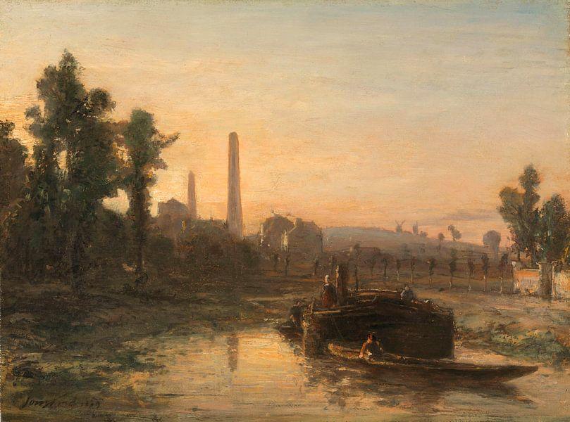Flussblick in Frankreich, möglicherweise bei Pontoise, Johan Barthold Jongkind von Meesterlijcke Meesters