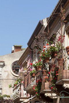 Bloembakken en balkons, oude huisgevels, Hauptstra�e Corso Umberto, Taormina, Provincie Messina, Sic van Torsten Krüger