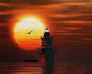 Phare de Newport avec un coucher de soleil et des nuages Cumulus