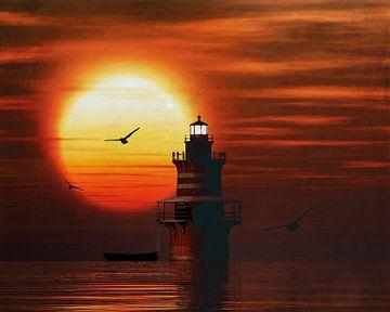 De Vuurtoren van Newport met een zonsondergang en Cumuluswolken