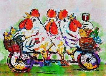 Chickens on a bike sur Vrolijk Schilderij