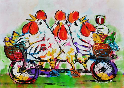 Hühner auf dem Tandem von Vrolijk Schilderij