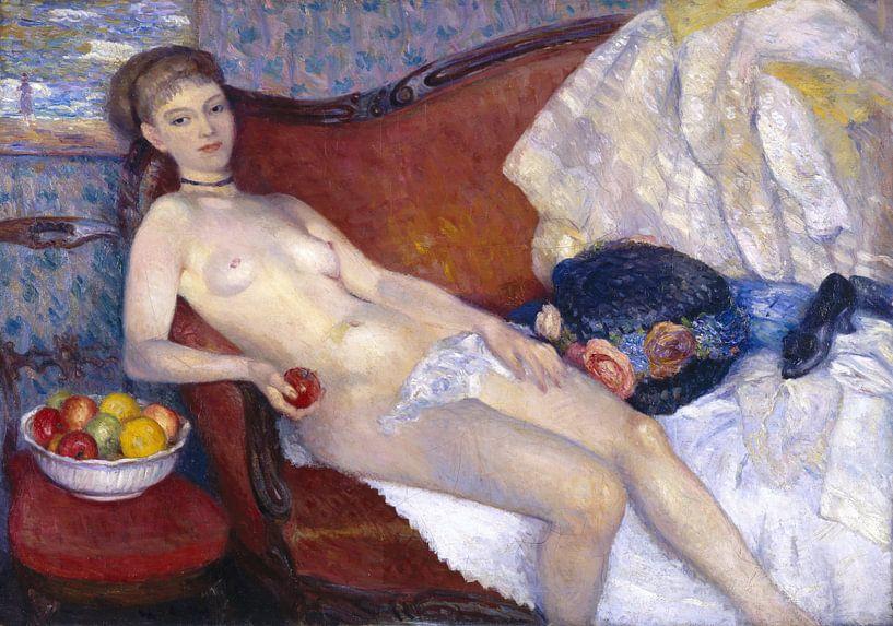 Nude with Apple, William Glackens von Meesterlijcke Meesters