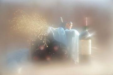 Stilleven flessen wijn van Angélique Vanhauwaert