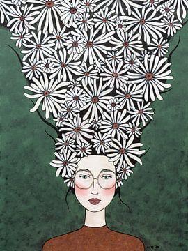 Blumen in meinem Kopf (Nr.2020-20) von Kris Stuurop