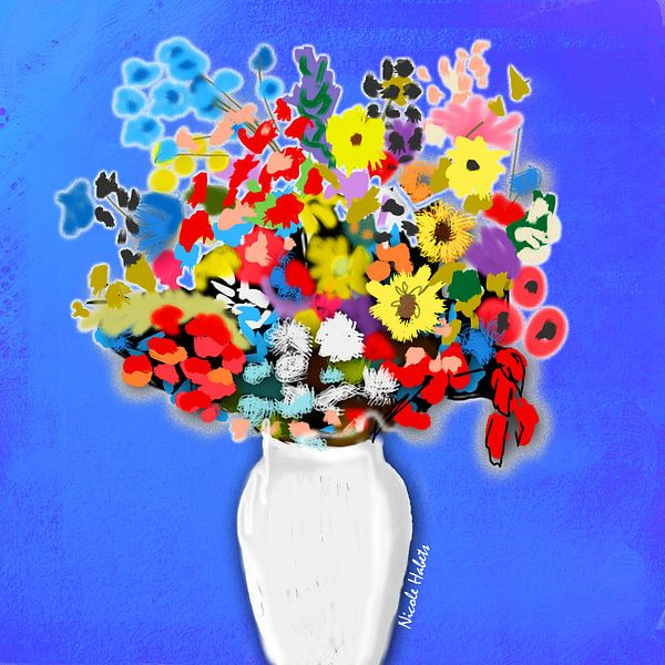 Bloemen in een vaas met blauwe achtergrond van Nicole Roozendaal