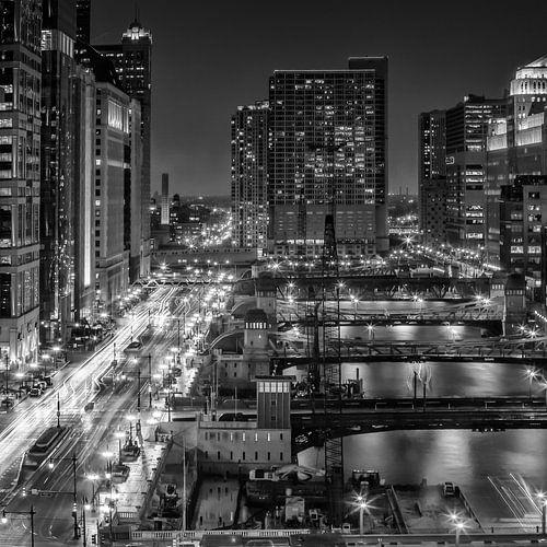 CHICAGO bruggen in de nacht van