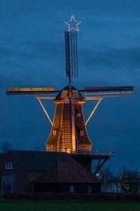 Verlichte nederlandse molen
