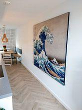 Klantfoto: De grote golf van Kanagawa, Hokusai, op print op doek