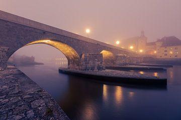 Stenen brug in Regensburg in dichte mist in de ochtend in de herfst van Robert Ruidl