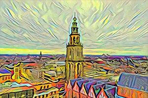 Gemälde Groningen im Stil der Picasso-Skyline mit Martini-Turm vom Forum Groningen