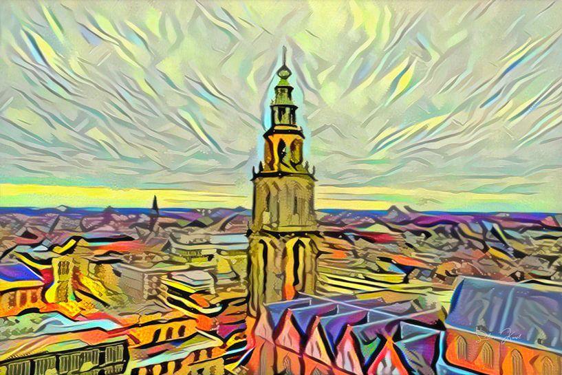 Gemälde Groningen im Stil der Picasso-Skyline mit Martini-Turm vom Forum Groningen von Slimme Kunst.nl