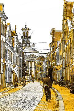Gold Zeichnung Dordrecht Rathaus Grotekerksbuurt von Hendrik-Jan Kornelis