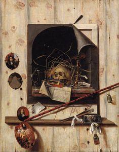 Trompe l'oeil met Studio Wall en Vanitas Still Life, Cornelis Norbertus Gysbrechts, Cornelis Norbert