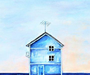 Das einsame blaue Haus in Portugal. von Ineke de Rijk