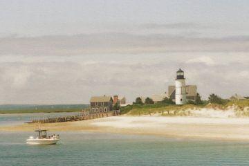 Cape Cod - vuurtoren en boot van Joost Hogervorst