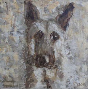 Ein abstraktes Gemälde eines Schäferhundes