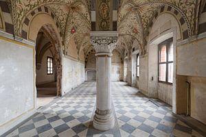 Wunderschöne Säulen in einem verlassenen Schloss