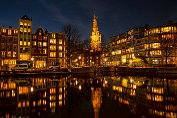 Paysage urbain d'Amsterdam avec la Zuiderkerk aux Pays-Bas sur Nisangha Masselink
