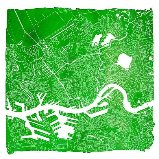 Rotterdam | Stadskaart Groen | Vierkant met Witte kader van - Wereldkaarten.shop -