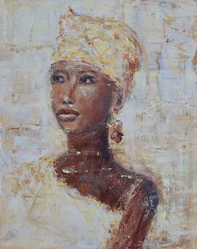 African woman gold van Mieke Daenen