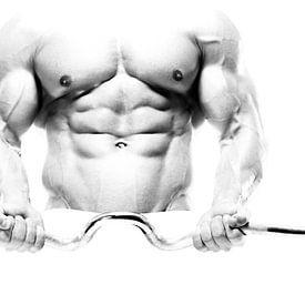 Aufbauhersteller / Gewichtheber in High Key Schwarz-Weiß von Art By Dominic