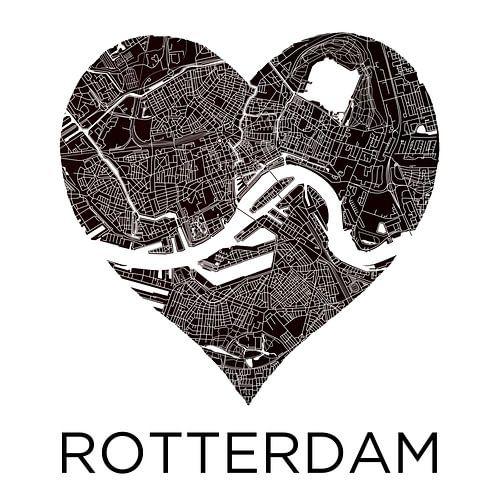 Liebe zu Rotterdam Black&White | Stadtplan im Herzen von - Wereldkaarten.shop -