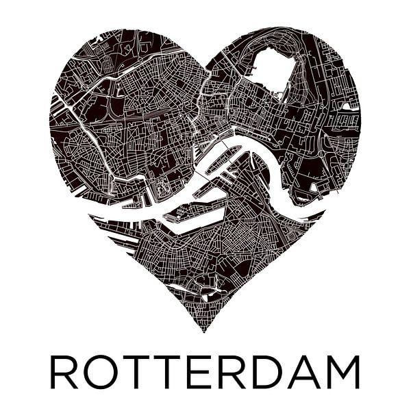 Liefde voor Rotterdam ZwartWit     Stadskaart in een hart van - Wereldkaarten.shop -