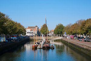 Het middeleeuwse stadje Zierikzee in de provincie Zeeland in Nederland