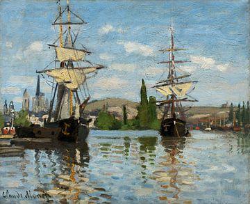 Schepen op de Seine in Rouen, Claude Monet