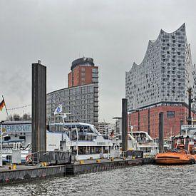 Wintergraues Hamburg mit der Elbphilharmonie von Gisela Scheffbuch
