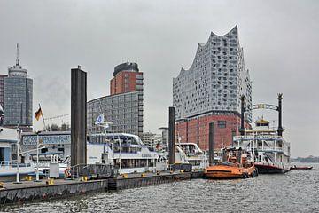 Port of Hamburg in Winter  van Gisela Scheffbuch