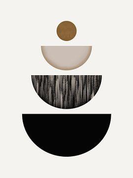 Moderne kunst - Black and Gold 3 van Studio Malabar