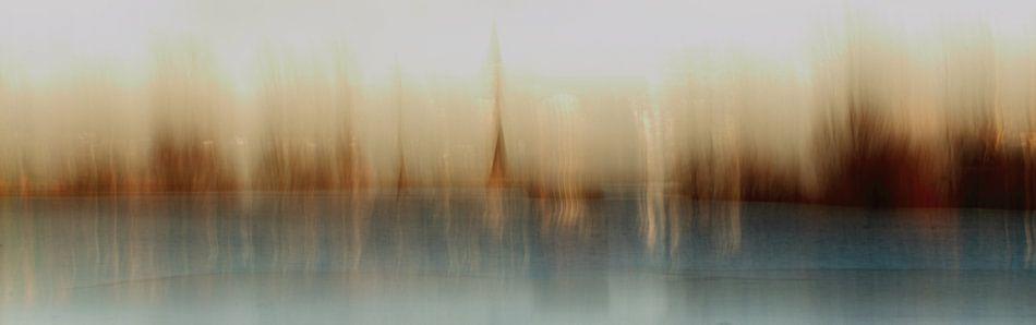 Dorp aan de rivier (impressionistisch)