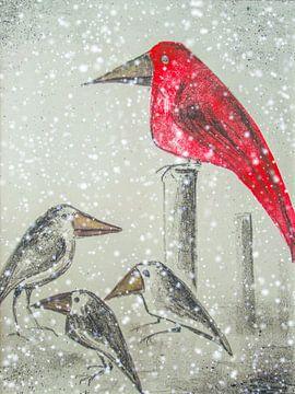 Wintereinbruch - Raben im Schnee von Christine Nöhmeier
