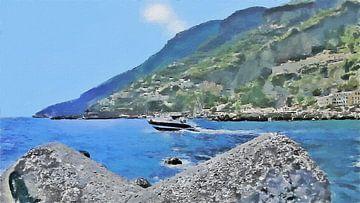 Een Speedboot aan de Amalfikust Vaart Langs de Pier van Amalfi in Italië - Schilderij