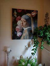 Kundenfoto: Mädchen mit der Vase, Collage nach Vermeer und de Heem, auf leinwand