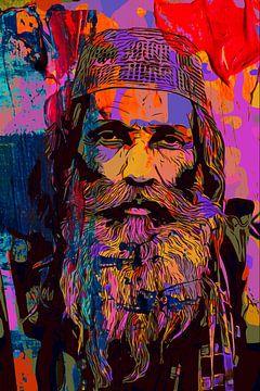 Oude man met baard en hoed van The Art Kroep