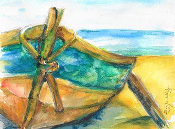 Portugiesisches Fischerboot am Strand. von Ineke de Rijk