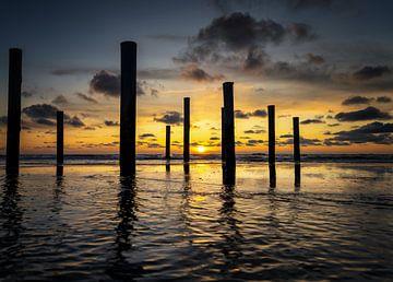 Sonnenuntergang bei Palendorp von Peter van der Waard