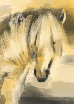 Paard gekust door de zon van Go van Kampen