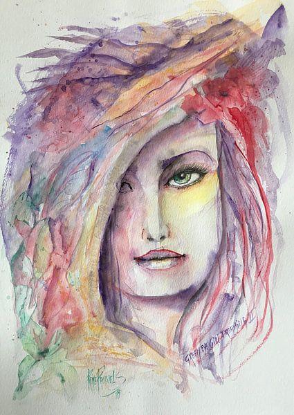 Green eye girl dreaming van René Pauwels