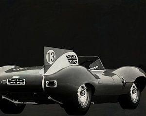 Jaguar Type D 1956 Achterzijde B&W