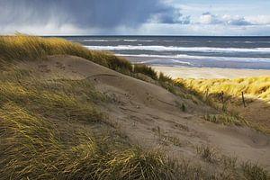 Regenwolken boven de Noordzee