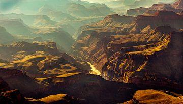 Prachtig uitzicht vanaf de South Rim op de bedding van de Colorado rivier in Grand Canyon Nation Par van Dieter Walther