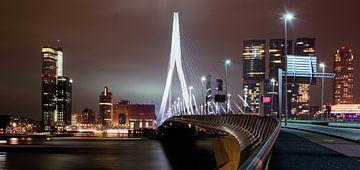 Langs de Erasmusbrug - skyline van Rotterdam van Fabrizio Micciche