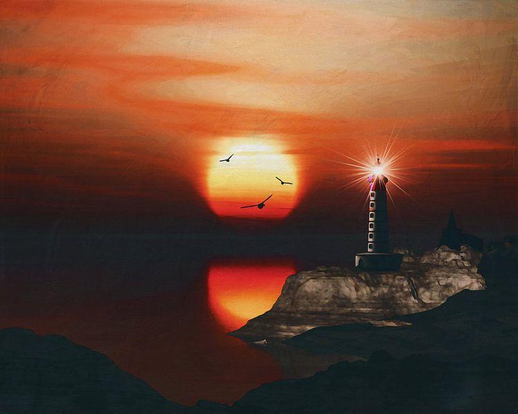 De vuurtoren van St Mathieu met zonsondergang en wolken van Jan Keteleer