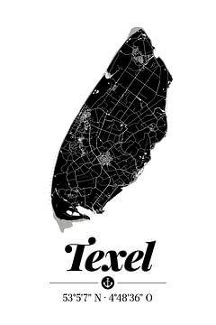 Texel | Landkarten-Design | Insel Silhouette | Schwarz-Weiß von ViaMapia